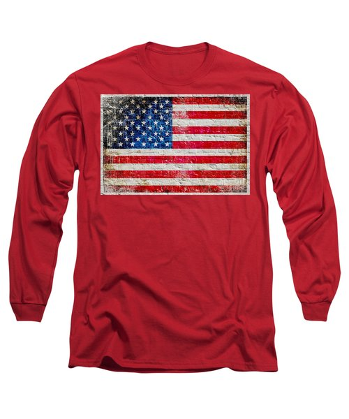 Distressed American Flag On Old Brick Wall - Horizontal Long Sleeve T-Shirt by M L C