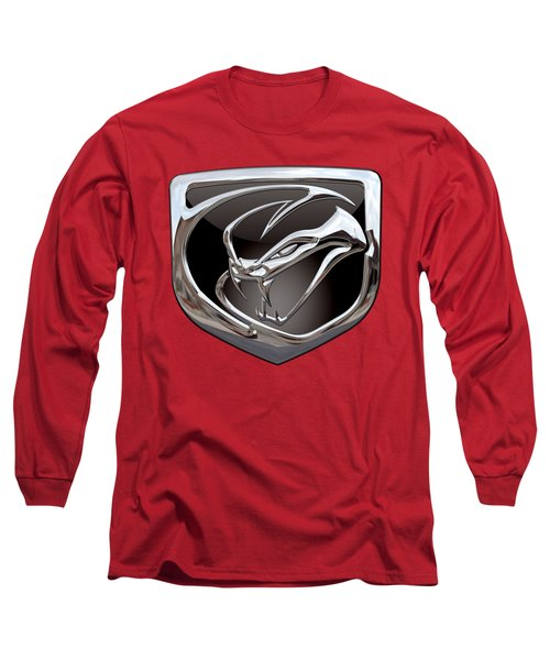 Dodge Viper - 3d Badge On Red Long Sleeve T-Shirt by Serge Averbukh