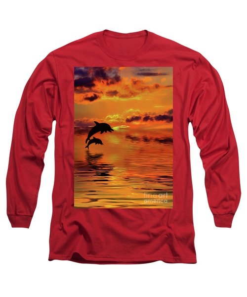 Long Sleeve T-Shirt featuring the digital art Dolphin Silhouette Sunset By Kaye Menner by Kaye Menner