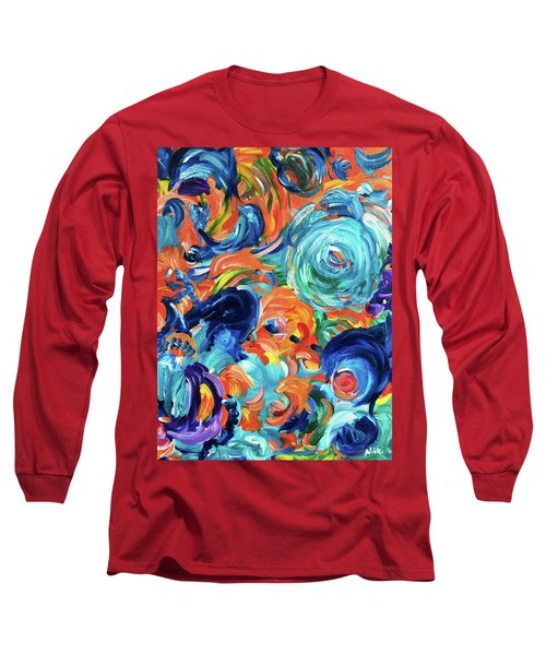 Dolphins Playing In Peonies Long Sleeve T-Shirt