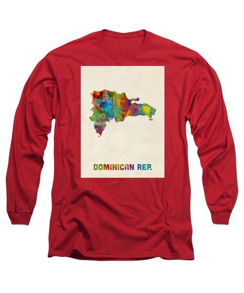 Dominican Republic Watercolor Map Long Sleeve T-Shirt