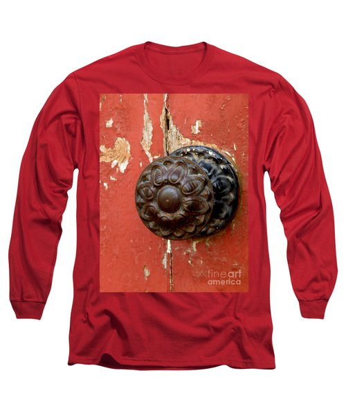 Door Knob On Red Door Long Sleeve T-Shirt by Lainie Wrightson