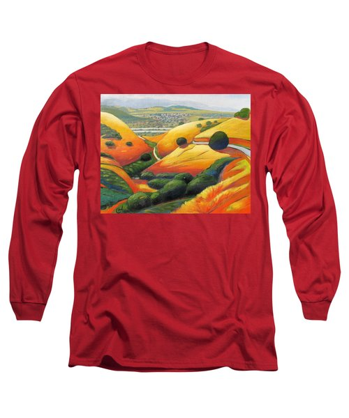 Long Sleeve T-Shirt featuring the painting Down Metcalf Road by Gary Coleman