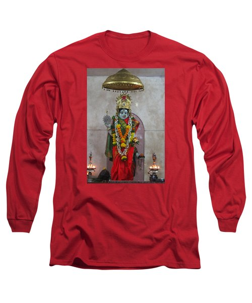 Downtown Ganeshpuri Durga Temple Long Sleeve T-Shirt by Jennifer Mazzucco