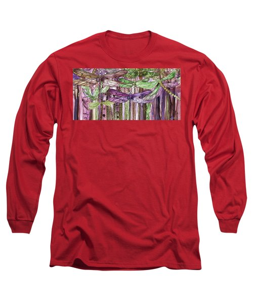 Long Sleeve T-Shirt featuring the mixed media Dragonfly Bloomies 4 - Pink by Carol Cavalaris