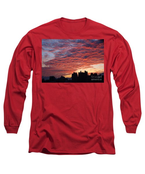 Long Sleeve T-Shirt featuring the photograph Dramatic City Sunrise by Yali Shi