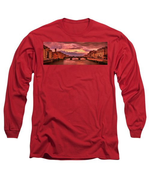 Saint Trinity Bridge From Ponte Vecchio At Red Sunset In Florence, Italy Long Sleeve T-Shirt