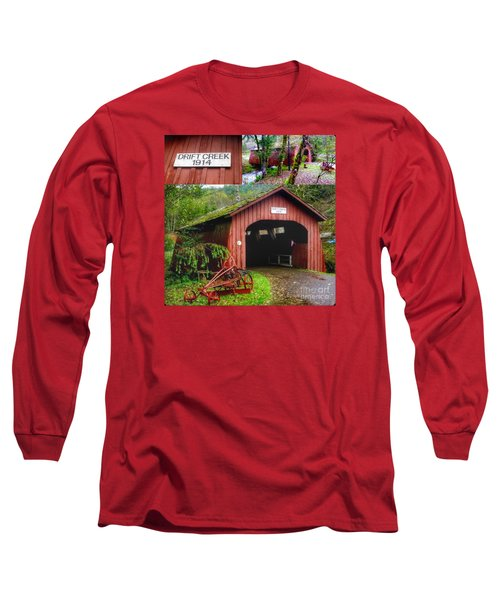 Drift Creek Covered Bridge Long Sleeve T-Shirt by Susan Garren