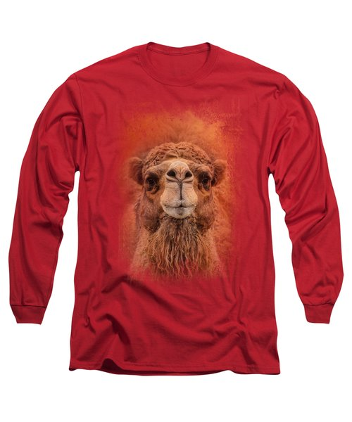 Dromedary Camel Long Sleeve T-Shirt by Jai Johnson