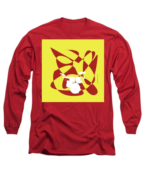 Drums In Yellow Strife Long Sleeve T-Shirt by David Bridburg