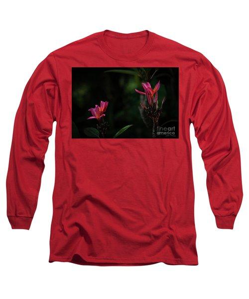 Dual Red Plumerias Long Sleeve T-Shirt