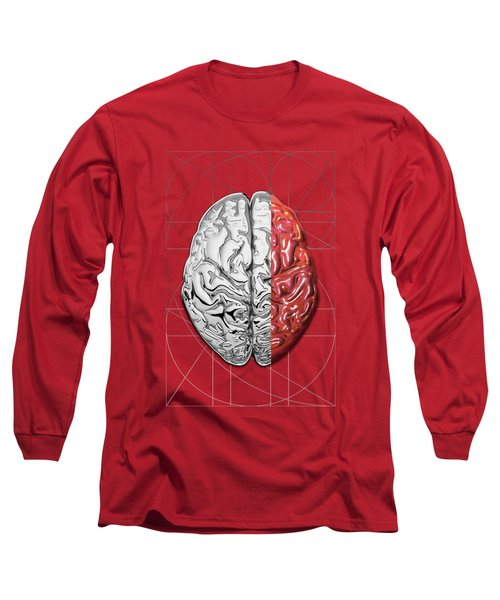 Long Sleeve T-Shirt featuring the digital art Dualities - Half-silver Human Brain On Red And Black Canvas by Serge Averbukh