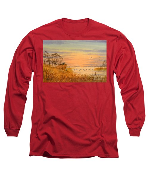 Long Sleeve T-Shirt featuring the painting Duck Hunting Calls by Bill Holkham
