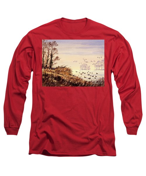 Long Sleeve T-Shirt featuring the painting Duck Hunting Times by Bill Holkham