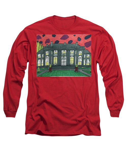 Long Sleeve T-Shirt featuring the painting Dupont Family Mansion. by Jonathon Hansen