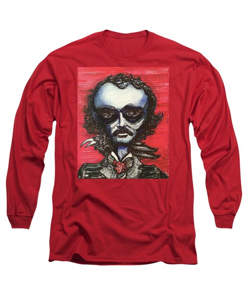 Long Sleeve T-Shirt featuring the painting Edgar Alien Poe by Similar Alien