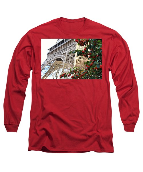 Long Sleeve T-Shirt featuring the photograph Eiffel Tower In Winter by Katie Wing Vigil