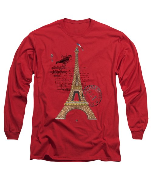 Eiffel Tower T Shirt Design Long Sleeve T-Shirt by Bellesouth Studio