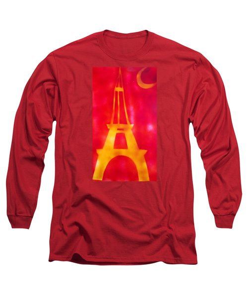 Long Sleeve T-Shirt featuring the painting Eiffel Tower Yellow Glowing by Don Koester