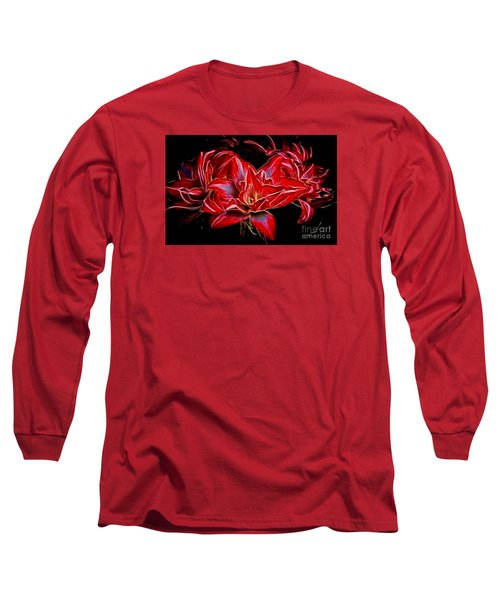 Electric Amaryillis Long Sleeve T-Shirt by Darleen Stry