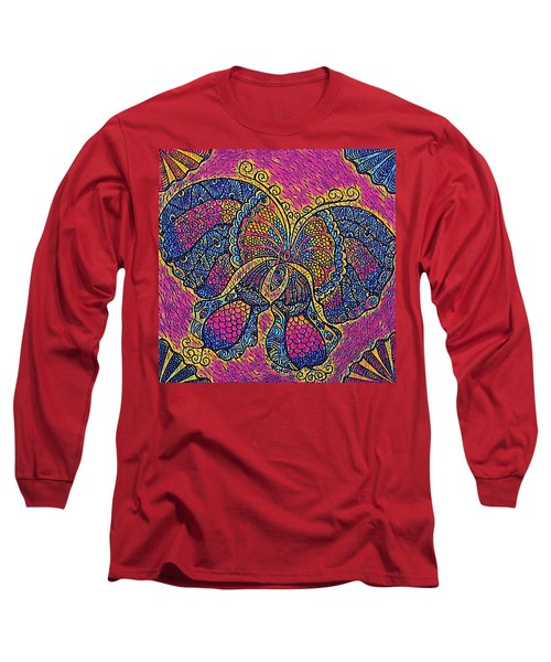 Electric Butterfly 2  Long Sleeve T-Shirt by Megan Walsh