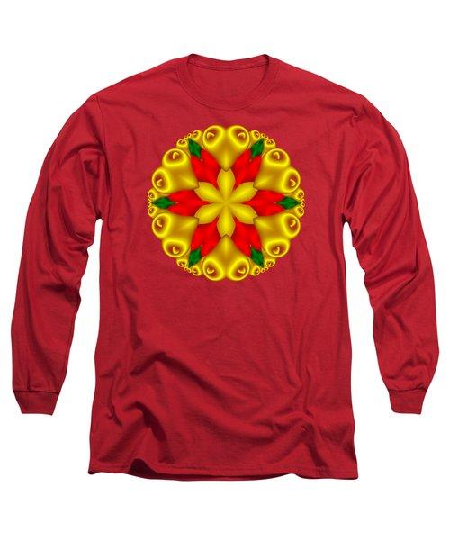 Elegant Christmas Poinsettia With Hearts  Long Sleeve T-Shirt