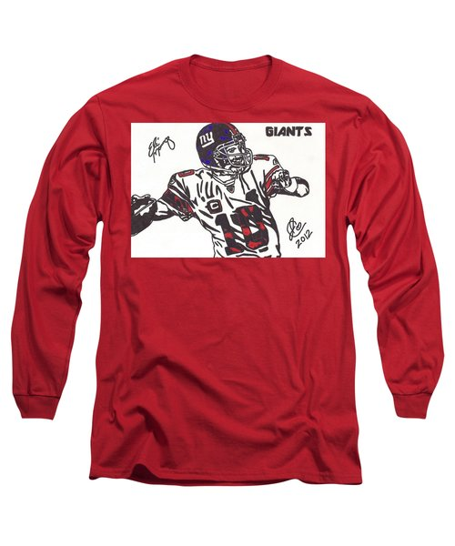 Long Sleeve T-Shirt featuring the drawing Eli Manning by Jeremiah Colley