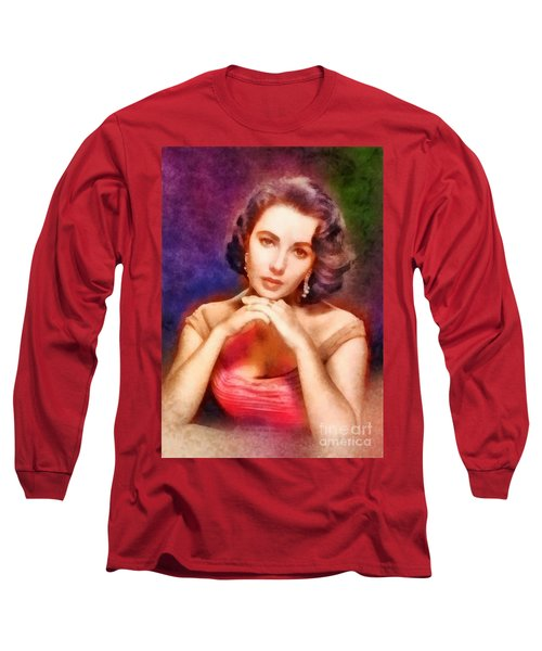Elizabeth Taylor, Vintage Hollywood Legend Long Sleeve T-Shirt by Frank Falcon