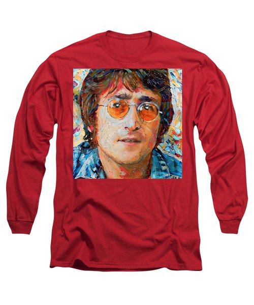 John Lennon Portrait Impasto Long Sleeve T-Shirt