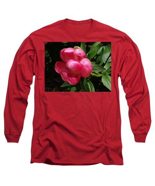 Emerging Peony Bloom Long Sleeve T-Shirt by Rebecca Overton
