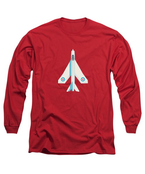 English Electric Lightning Fighter Jet Aircraft - Crimson Long Sleeve T-Shirt
