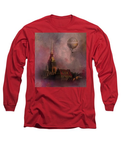 Stockholm Church With Flying Balloon Long Sleeve T-Shirt