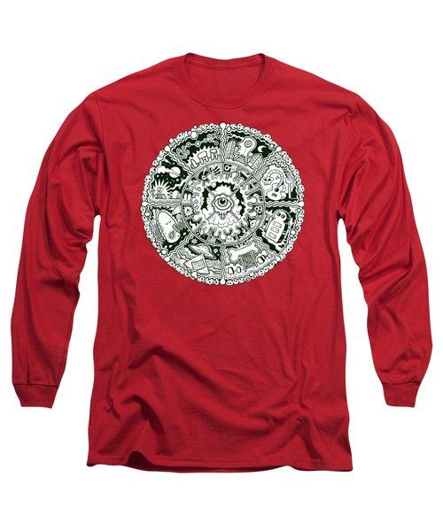 Eye Mandala Black And White Long Sleeve T-Shirt