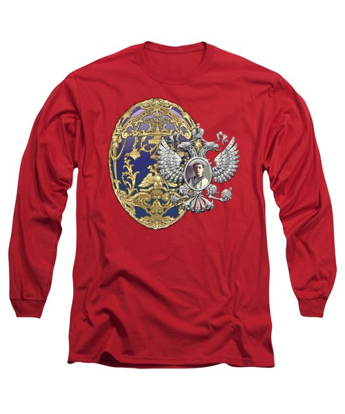 Faberge Tsarevich Egg With Surprise On Red Velvet Long Sleeve T-Shirt