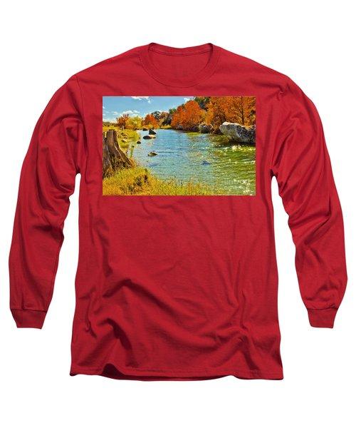 Fall On The Medina River Long Sleeve T-Shirt