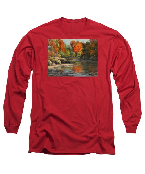 Long Sleeve T-Shirt featuring the painting Fall Reflections by Karen Ilari