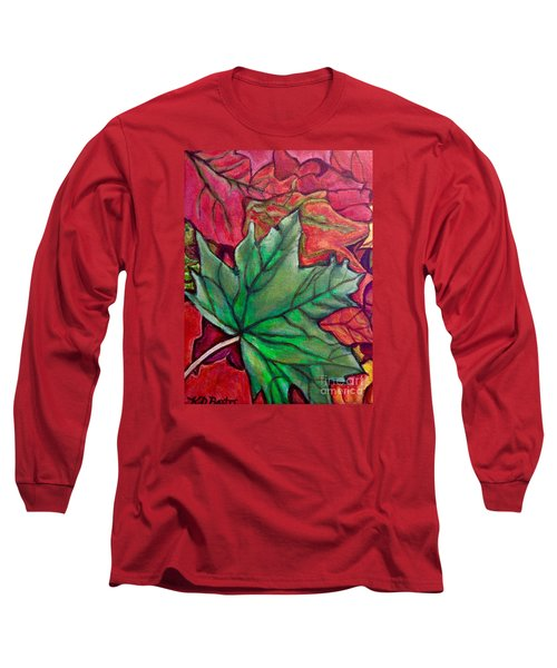 Fallen Green Maple Leaf In The Fall Long Sleeve T-Shirt by Kimberlee Baxter