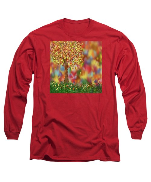 Long Sleeve T-Shirt featuring the painting Falling Leaves by Kevin Caudill