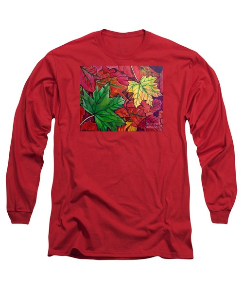 Falling Leaves I Painting Long Sleeve T-Shirt by Kimberlee Baxter