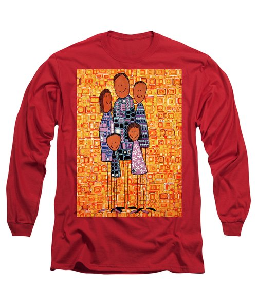 Long Sleeve T-Shirt featuring the painting Family Portrait by Donna Howard