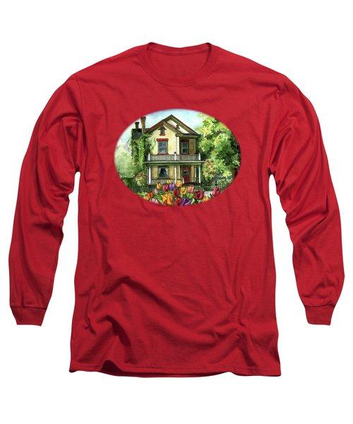 Farmhouse With Spring Tulips Long Sleeve T-Shirt