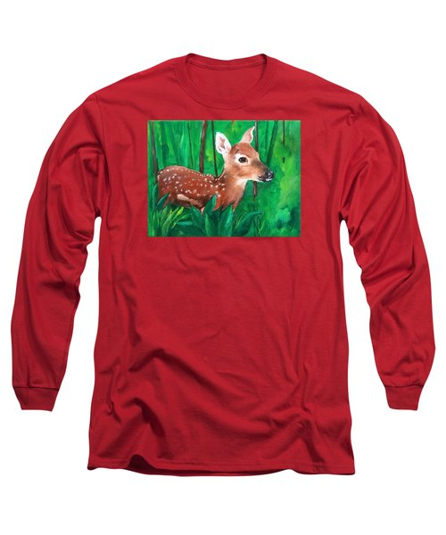 Long Sleeve T-Shirt featuring the painting Fawn by Ellen Canfield