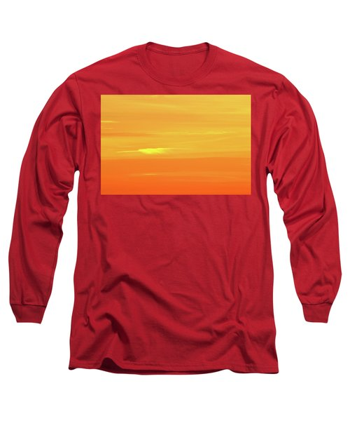 Feather Cloud In An Orange Sky  Long Sleeve T-Shirt by Lyle Crump