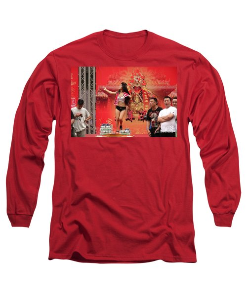 Long Sleeve T-Shirt featuring the photograph Female Dancer At A Temple Ceremony by Yali Shi