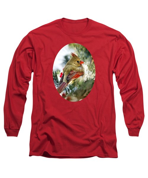 Female Northern Cardinal Long Sleeve T-Shirt by Christina Rollo