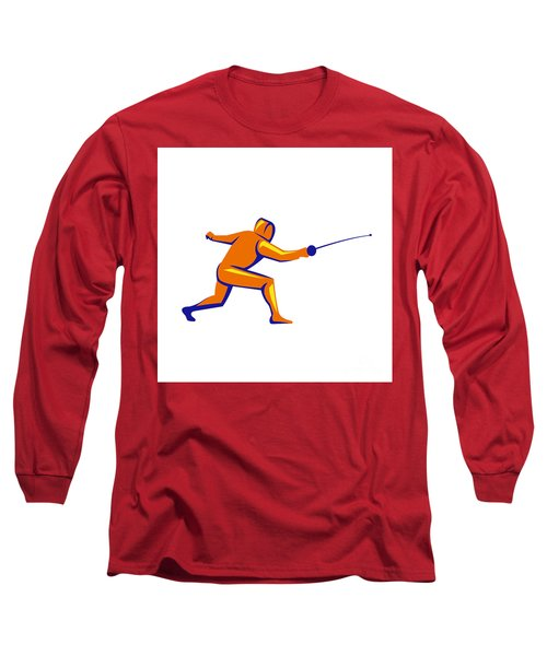 Fencing Thrust Side View Retro Long Sleeve T-Shirt