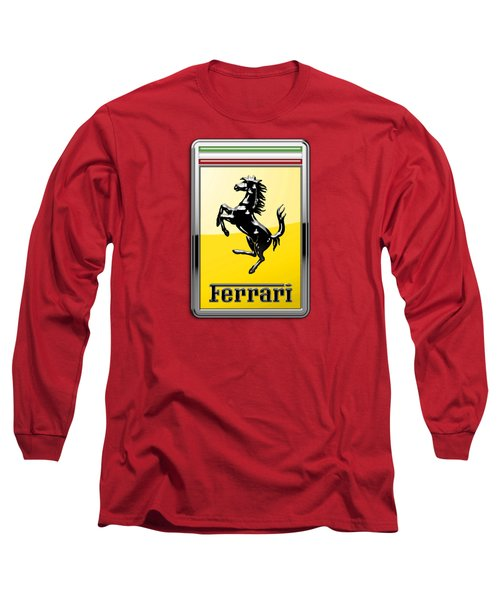 Ferrari 3d Badge-hood Ornament On Red Long Sleeve T-Shirt by Serge Averbukh