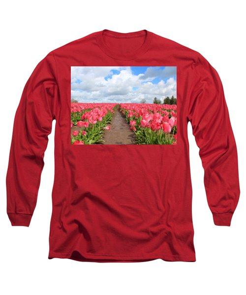 Field Of Pink Long Sleeve T-Shirt