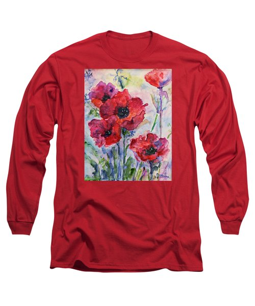 Field Of Red Poppies Watercolor Long Sleeve T-Shirt by AmaS Art