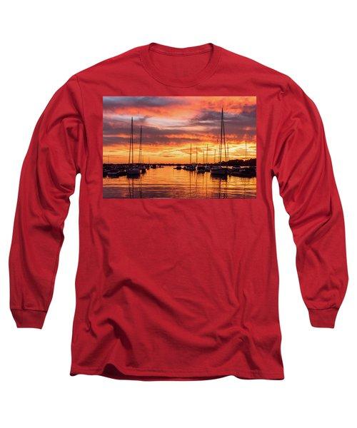 Fiery Lake Norman Sunset Long Sleeve T-Shirt